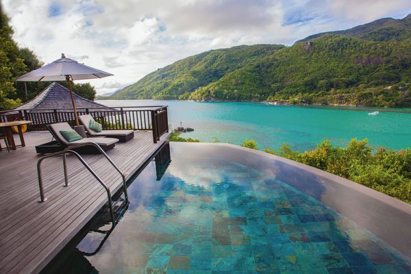 Stunning infinity pool at luxury resort in Seychelles