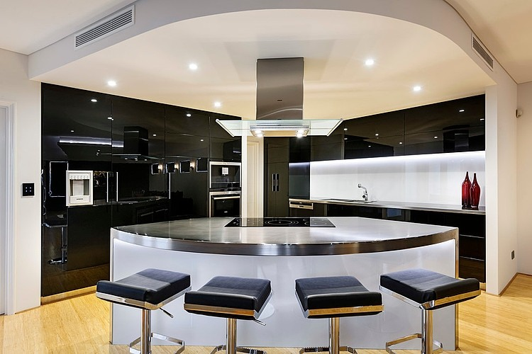 Stunning modern kitchen in mirror-black gloss-finished