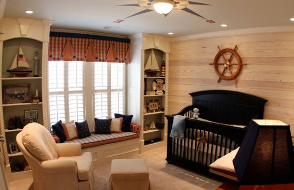 Stylish boys' nursery with nautical theme