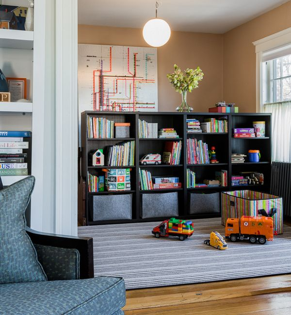 Stylish storage shelf idea for the playroom