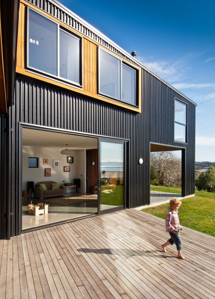 Stylish wooden deck at the New Zealand home