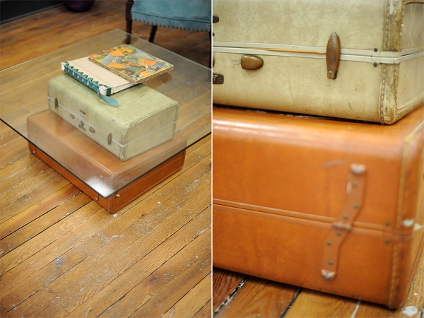 Suitcase coffee table with glass top