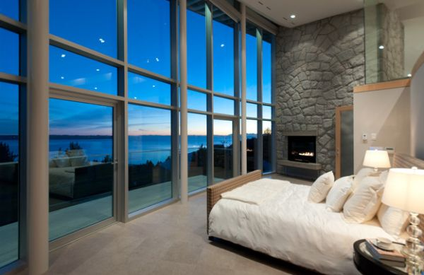 Sweeping views and stone fireplace blend brilliantly!