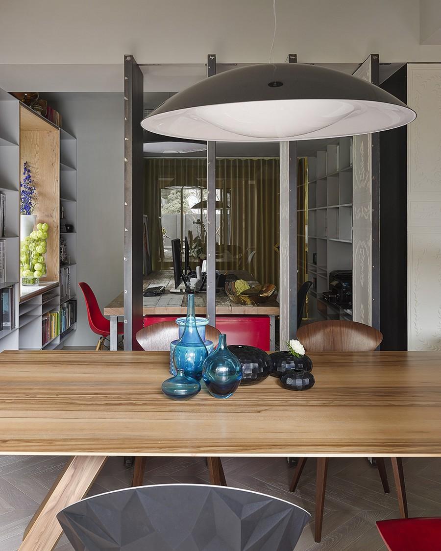 Swivel doors reveal the home work area