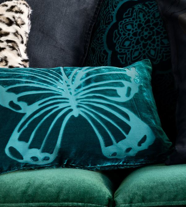 Teal butterfly pillow