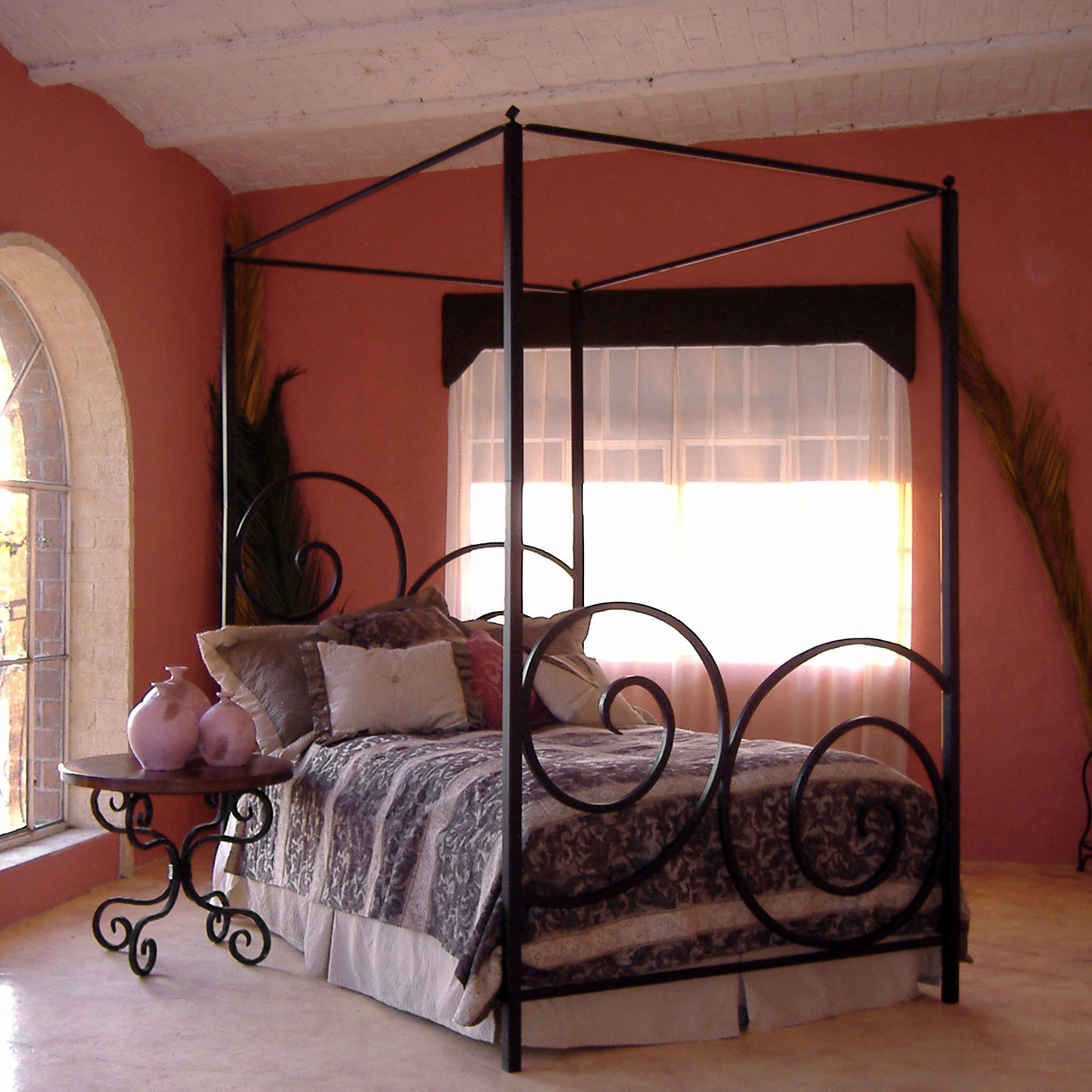Timeless Wrought Iron Natural Black Alexander Canopy Bed