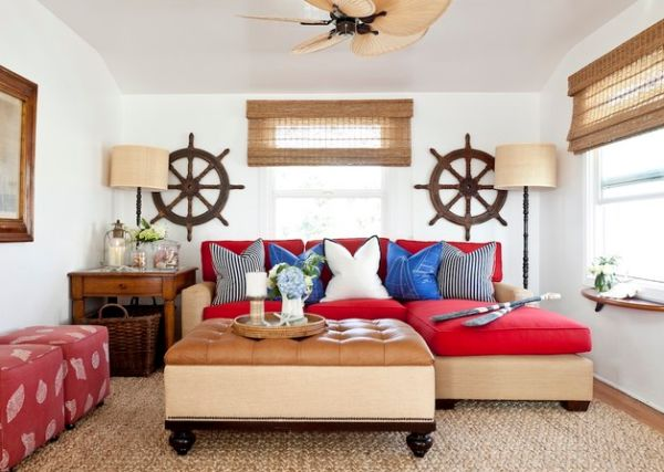 Twin ship wheels add symmetry and balance to the living room