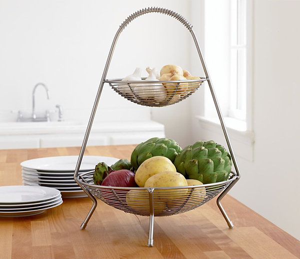 Two tier fruit basket Cool Kitchen Storage Ideas