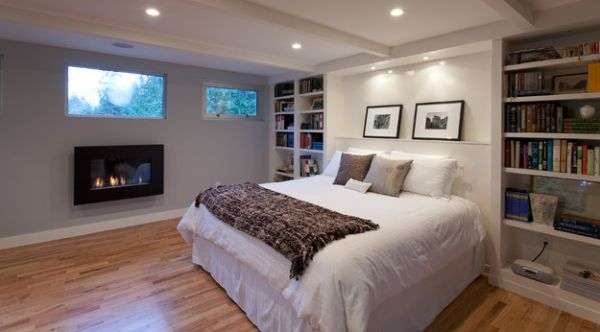 Use a fireplace trim in contrasting color to highlight it