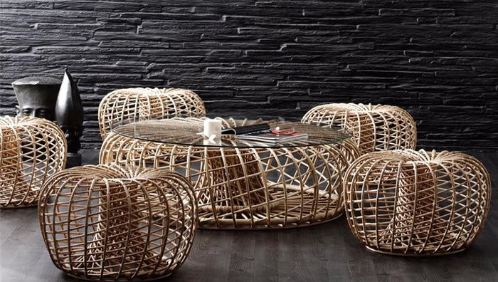 Use the rattan creation as a cool coffee table