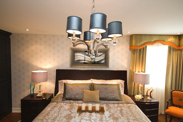 Variety of light sources in a colorful bedroom