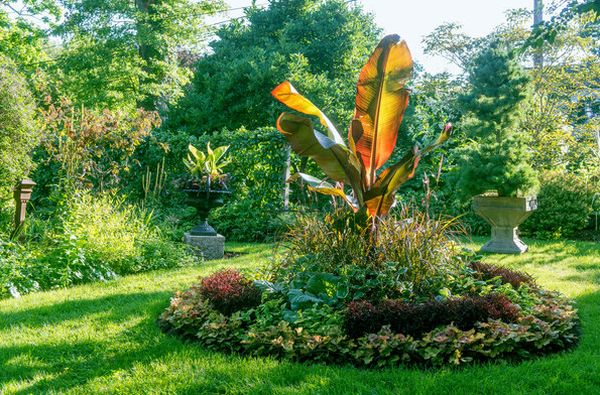 Victorian circle with burnt orange banana plant at its hear Connecticut Garden Displays Tranquil Beauty Nurtured With Decades Of Care