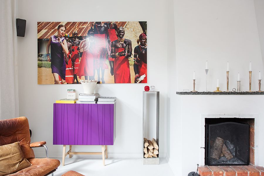 Vivacious purple cabinet in a Scandinavian home Modern Swedish Apartment With Snazzy Scandinavian Charm!