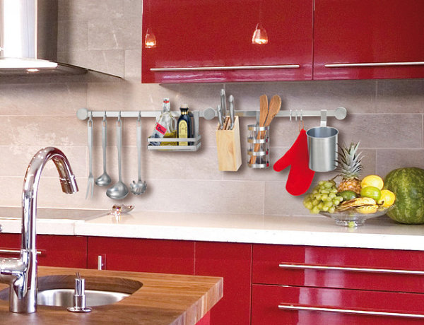 Wall-mounted gadgets in a sleek kitchen