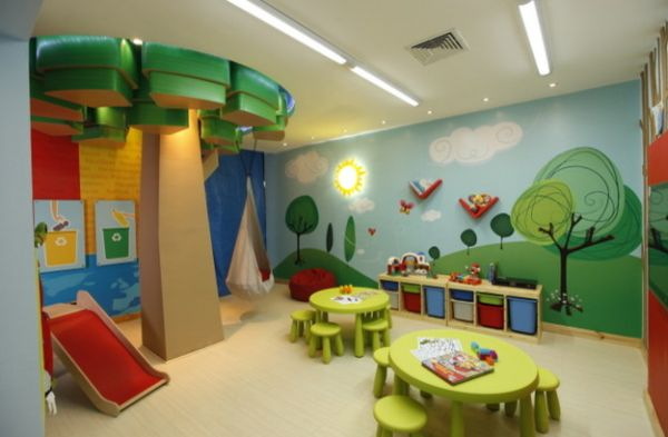 Wall murals add distinct character to the playroom