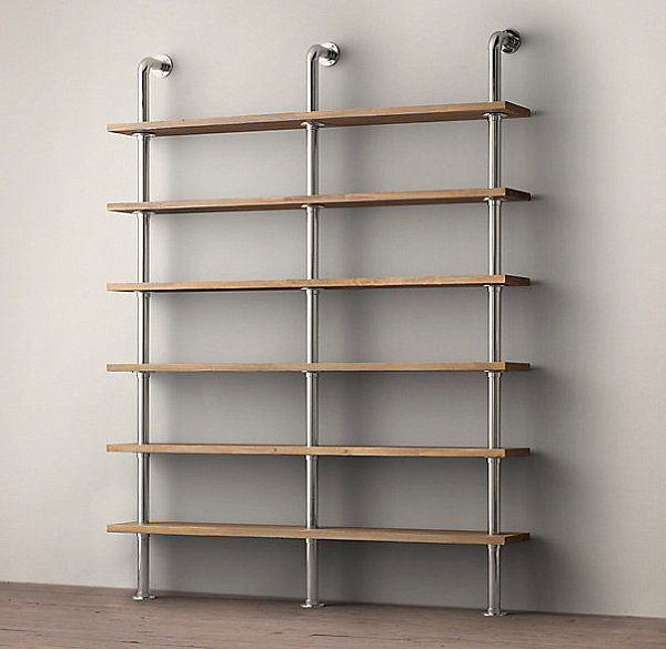 Wall shelving system with industrial style