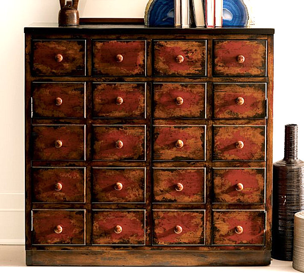 Weathered red cabinet