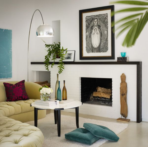 Whimsical arrangment of the floor pillows along with the iconic Arco floor lamp