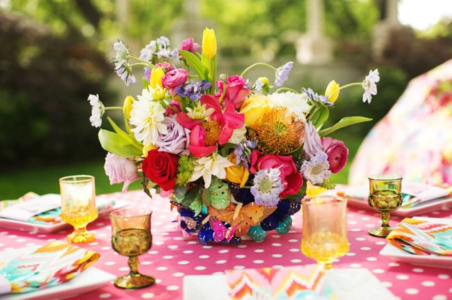 Whimsical garden wedding details