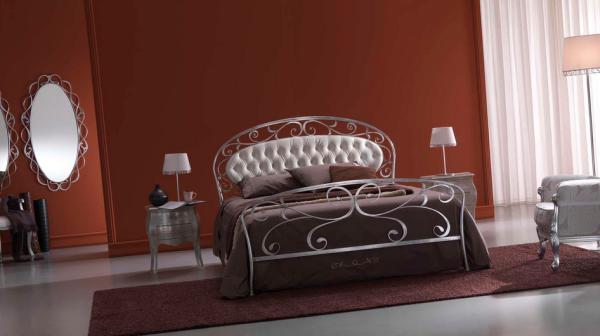 White Bontempi Acanto Wrought Iron Bed in Red and Maroon Bedroom