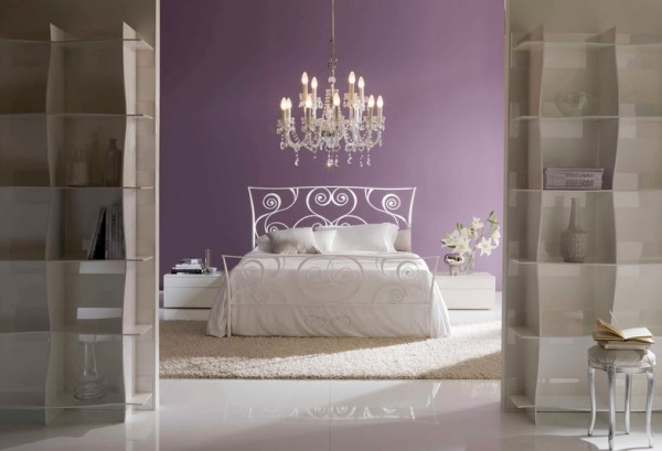 White Bontempi Macrame Wrought Iron Bed in Purple Bedroom