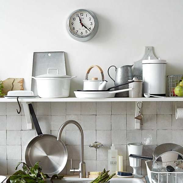 White enamel canisters and other kitchen equipment