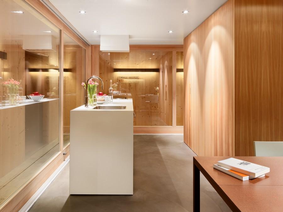 White kitchen island brings in a modern vibe