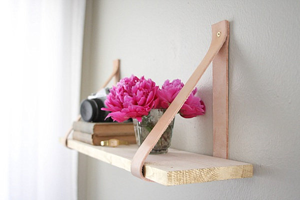 Wood and leather shelf