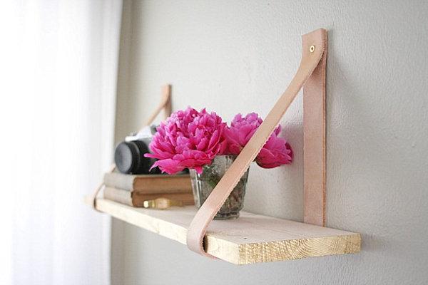 Wood and leather shelf
