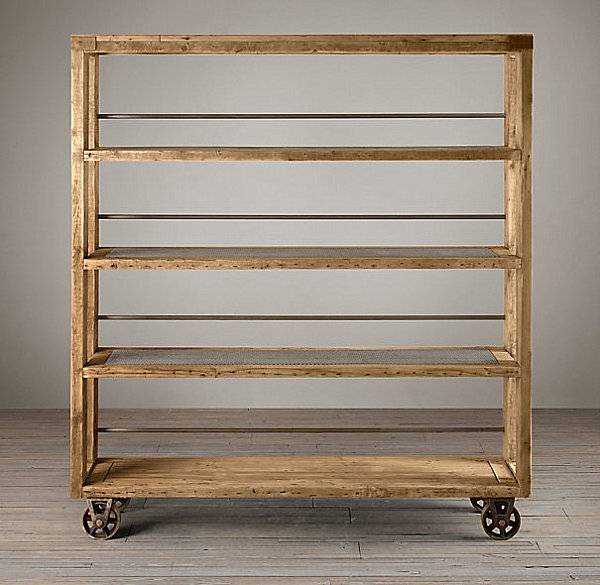 Wood and steel shelving