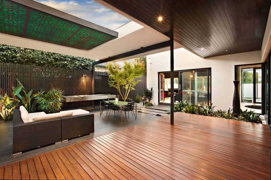 Wooden deck adds warmth to the space