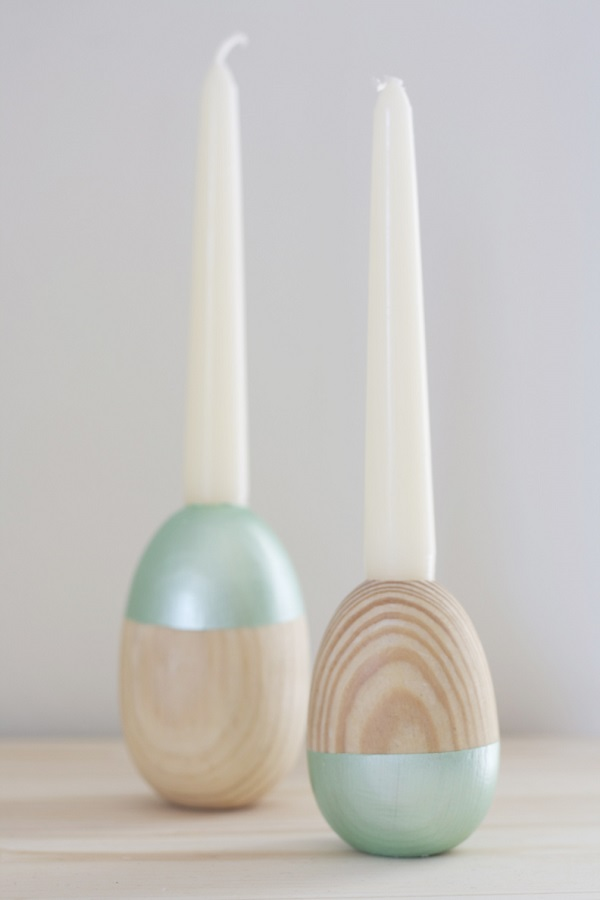 Wooden egg candle holders