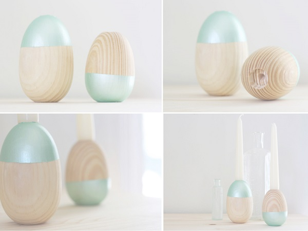 Wooden egg-shaped candle holders