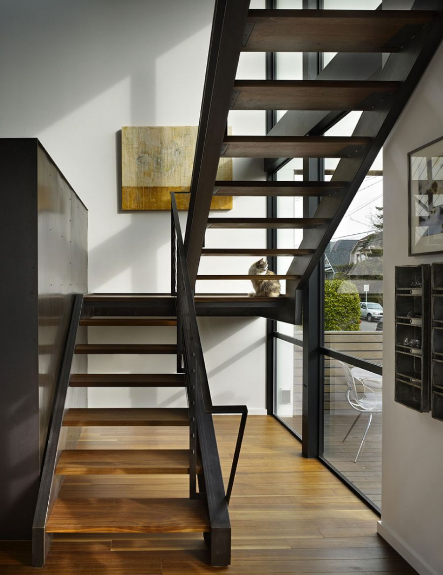 Wooden staircase leading to the top level