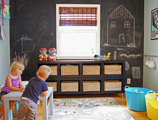 Woven baskets are  agreat way to add much needed storage space in the playroom