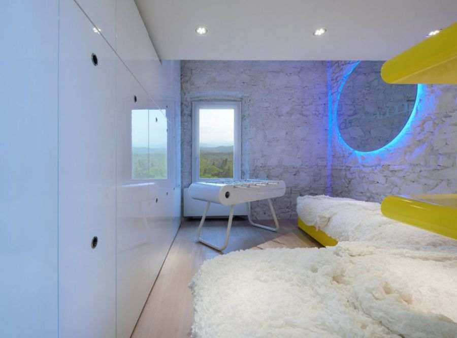 Yellow and blue add color to the space