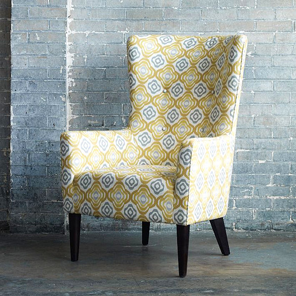 Yellow patterned armchair