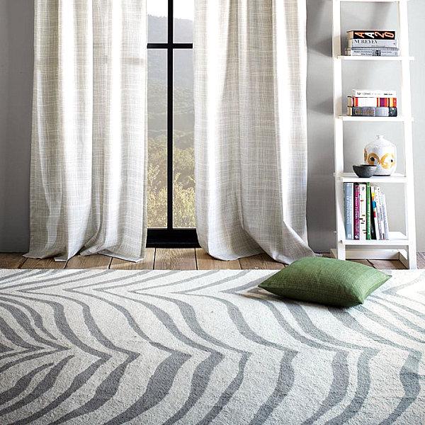 Zebra print wool rug