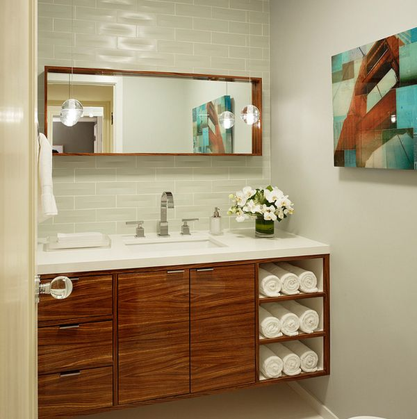 Zebra wood vanity cabinet with elegant display compartments