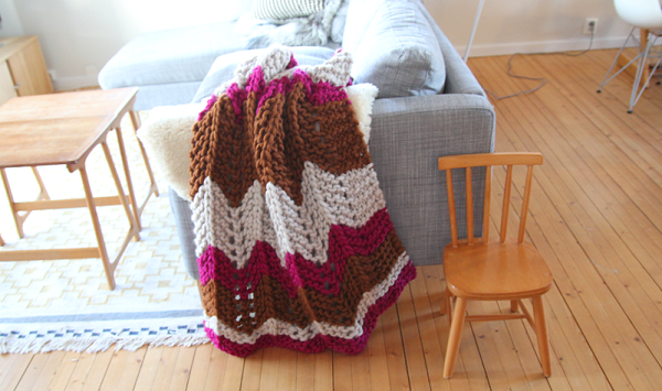 Zig zag sofa throw A Textured Tale: DIY Knitted and Crocheted Home Accents
