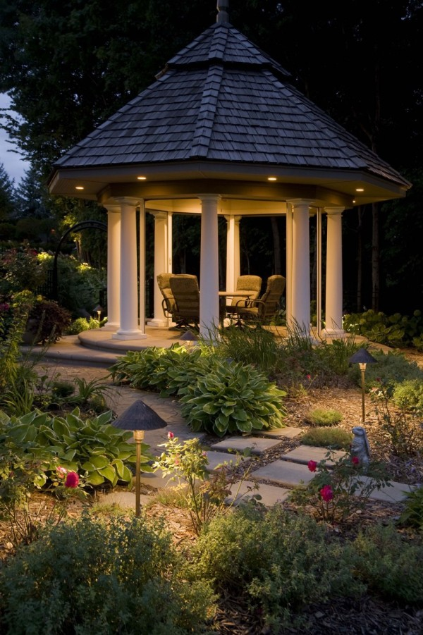 has a great light treatment for a gazebo and the surrounding garden