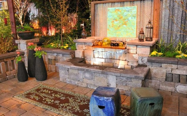 water feature and garden seating area