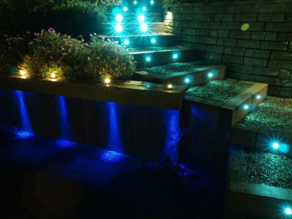 blue-white garden step floodlights look like approaching headlights
