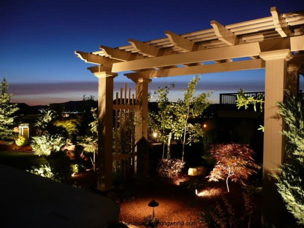 wonderful pergola lighting with garden