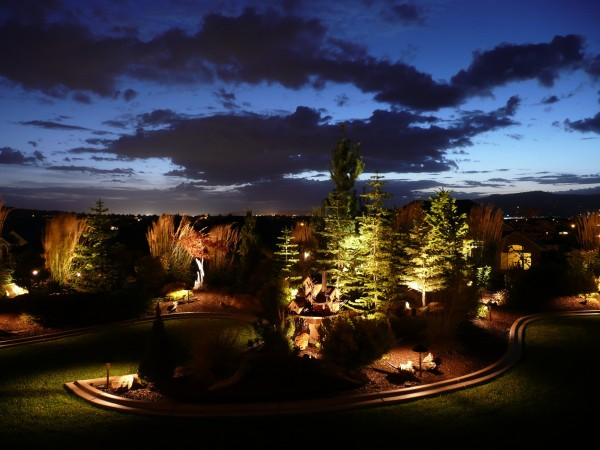 garden lighting at dusk with clouds