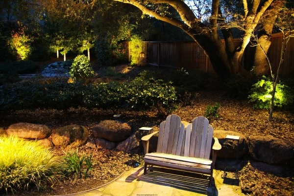 garden lighting with bench seating