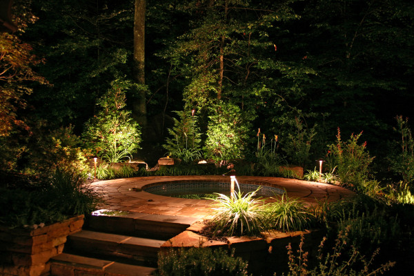 garden lighting around edge of hot tub