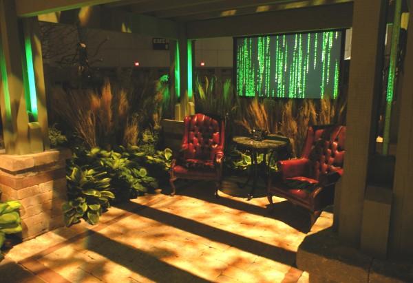 modern lit garden lounge area with waterproof LED TV