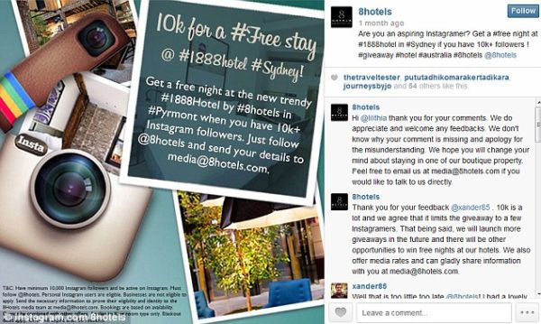 10k for a free stay at 1888 Hotel in Sydney