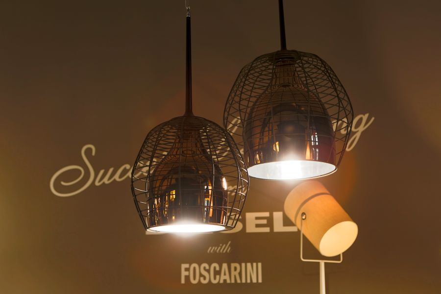 A colse up of the Cage at its unveiling Modern Foscarini Lamps For Diesel Fall 2013 Home Collection